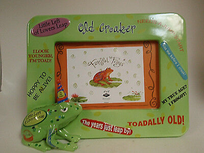 Picture frame frog 'Old Croaker' 4X6 ceramic new in box fast free shipping