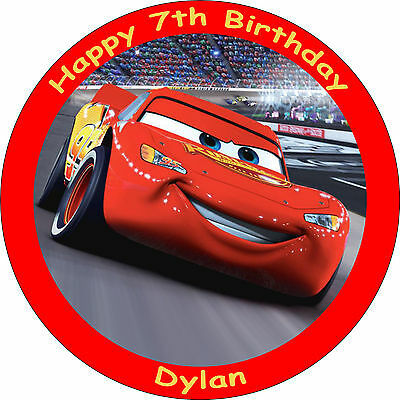 """Cars Lightning Mcqueen Edible 8"""" Personalised Birthday Cake Topper"""