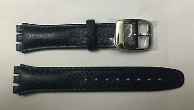 Replacement 17mm Leather Watch Strap in Ink Blue for Swatch