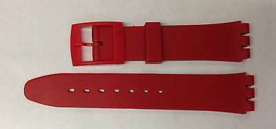 Replacement 17mm (20mm) Watch Strap for SWATCH - Red Resin