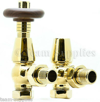 Bentley Traditional Brass / Gold Thermostatic Radiator Valves Angled Lockshield
