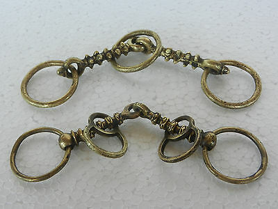 2 Pc Old Brass Handforged Ring & Spine / Spike Crafted Bridle / Bit, Nice Patina