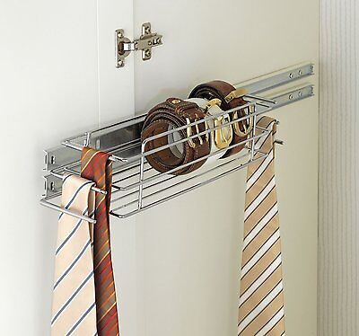 Wenko Chrome High Quality Wardrobe Shelf with Extendible Rail for Ties and Belts