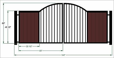 DRIVEWAY GATE STEEL WOODEN REDWOOD TUSCAN  METAL GARDEN WROUGHT IRON  12 FT
