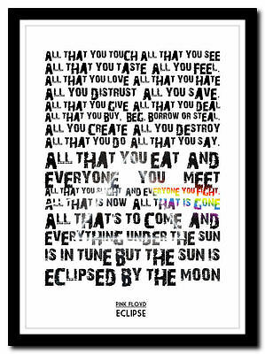 PINK FLOYD - Eclipse - moon song lyric poster ❤ typography art print -4 sizes #2