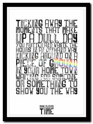 PINK FLOYD - Time - song lyric print in 4 sizes ❤ typography art poster xl xxl