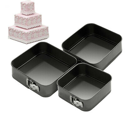 New 3Pc Square Tray Tins Non Stick Springform Cake Pan Baking Bake 24/26/28Cm
