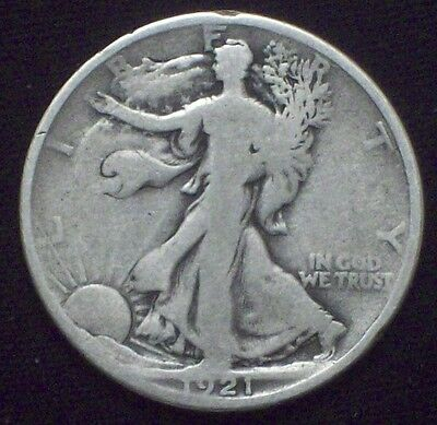 1921 D Silver WALKING LIBERTY HALF DOLLAR *KEY Date* SCARCE F Authentic US Coin