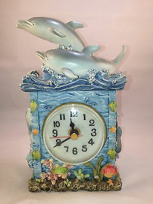 Handpainted Dolphin Desk Clock by A. Richesco