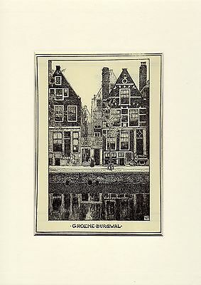 Antique matted print Amsterdam Holland architecture 1907 Groene Burgwal