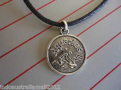 Aquarius Symbol Lucky Zodiac Sign Silver Pendant on Black Cord