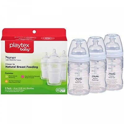 Playtex 3 Count Nurser With Drop-Ins Liner, 4 Ounce, Colors May Vary, New