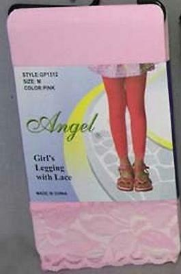 New Girls Angel Leggings with Lace Size large