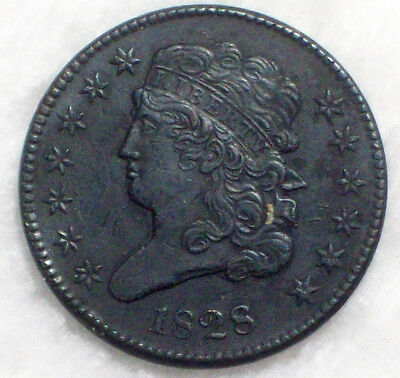 1828 HALF CENT Classic Head RARE C-1 R.3 AU Detailing Authentic PLEASE READ HC