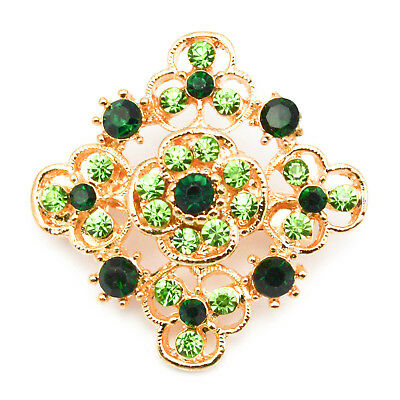 New Gold Pin Back Flower Brooch Green Crystals Vintage Lot Antique Job Jewellery