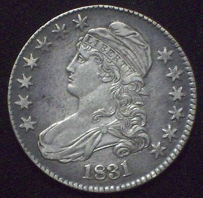 1831 BUST Half Dollar SILVER O-111 *RARE* AU Detailing Nice Color Authentic 50C