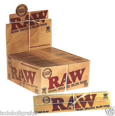 50 Raw king size slim  classic ,110mm,Papel de fumar natural sin blanqueantes.