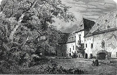 Antique print, holzstich : Marienthal,,Mariendall,Tuntange ,Luxembourg 1882