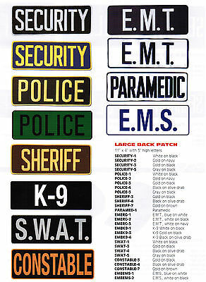 Security Guard Police Emt Ems K9 Sheriff Constable Paramedic Officer Back Patch