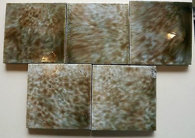 Antique Trent Art Tile with Mottled Brown and White Glaze. #7567