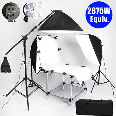 Photo Studio Shooting Table Photography Softbox Continuous Lighting Boom Set Kit
