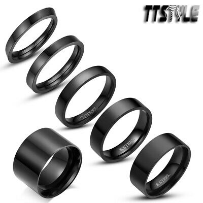 Polished TTstyle Black S.Steel Comfort fit Band Ring Size 5-14 Width 2-8mm NEW