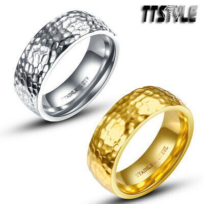 TTstyle 7mm Stainless Steel Rocky Wedding Band Ring Choose Colour
