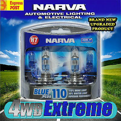 Narva H7 Blue +110% Plus 110 90 Halogen Headlamp Light Bulbs New Globes 48535Bl2