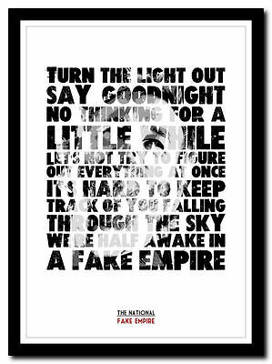 THE NATIONAL - Fake Empire ❤ poster typography art print - 4 sizes