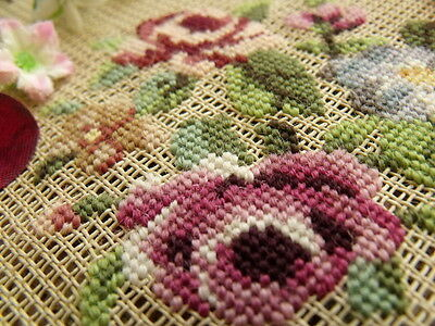 """23"""" vtg PREWORKED Needlepoint Canvas - *COUNTRY Cottage* Pink Rose Blue French"""
