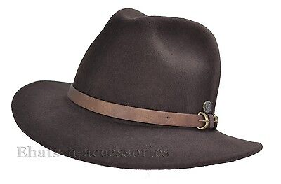 New Comfort Felt 100% Pure Wool Safari Cowboy Outback Hunting Fedora Hat  Brown 027b0591fae