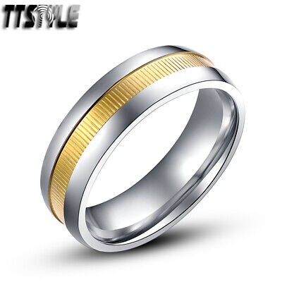 TTstyle 7mm Stainless Steel Gold Milgrained Comfort fit Wedding Band Ring