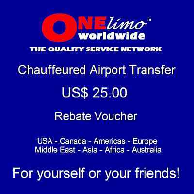 ONElimo US$ 25.00 REBATE Chauffeured Car Airport Transportation Transfer Service