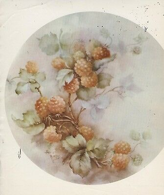 Salmon Berries #32 by Sonie Ames China Painting Study 1969