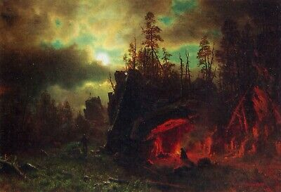 Trapper's camp by Albert Bierstadt Giclee Fine ArtPrint Reproduction on Canvas
