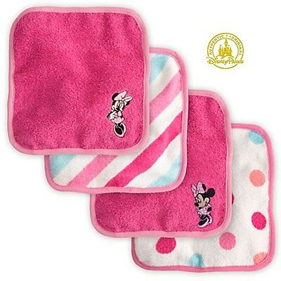 Disney Minnie Mouse Washcloth for Baby Towel for Face 4 Pcs Wash cloth Gift Set