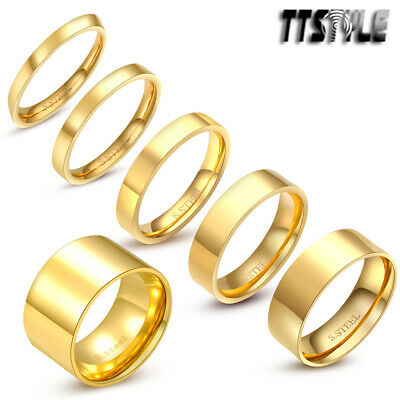 TTstyle Gold-Tone Stainless Steel Plain Wedding Band Ring 3mm-8mm Size 5-14