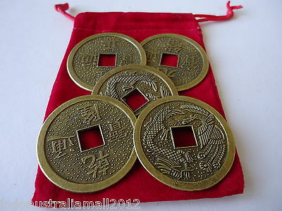 5 X Chinese Fengshui Auspicious I Ching Coins 38mm + Velvet Pouch(FS-CO27)