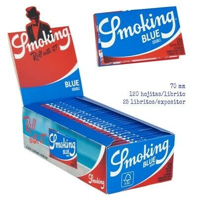 1 Papel de fumar Smoking azul ,blue, liar cigarro tabaco. 25 libritos dobles.