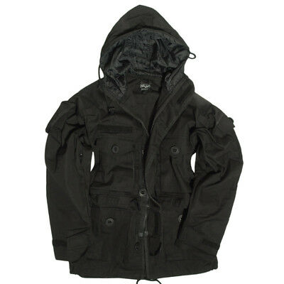 Military Hooded Smock Mens Combat Parka Army Tactical Long Jacket Security Black