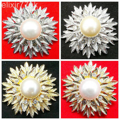 Silver Or Gold Leaf Flower Bouquet Pearls Brooch Diamante Crystal Broach Wedding