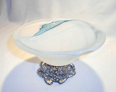 Murano Iridescent White W/Blue Frosted Bowl