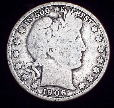 1906 D SILVER BARBER HALF DOLLAR Authentic US Coin - *PRICED TO SELL* 50C