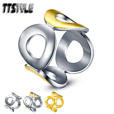 TTstyle Stainless Steel Four Circle Dress Party Ring Choose Colour