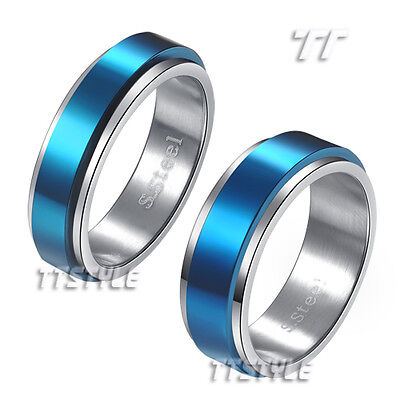 TTstyle Stainless Steel Blue Stripe Spinner Band Ring Choose Size 6mm 8mm