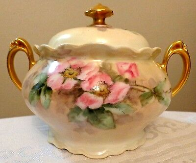 WILD ROSES GERMANY CHINA large sugar bowl gold gilded IVORY PINK vintage 20x5x7