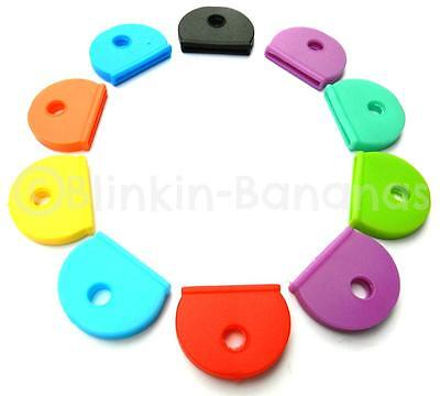 10 Assorted Multi Colour Coloured Coded Rubber Yale Type Key Top Covers Tags Cap