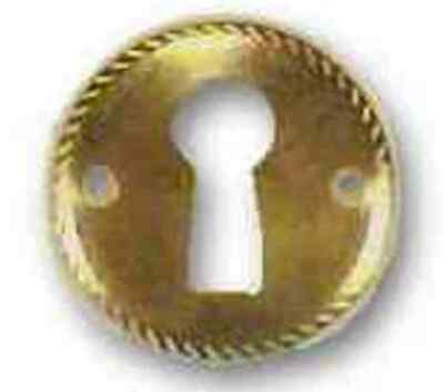"Brass Plated Keyhole Escutcheon Rope Edge 1"" Diameter, E-2Bp"
