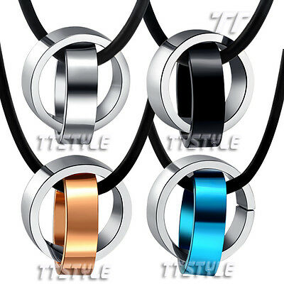 TTstyle TWo-Tone Stainless steel Two Lucky Ring Pendant Necklace Choose Colour