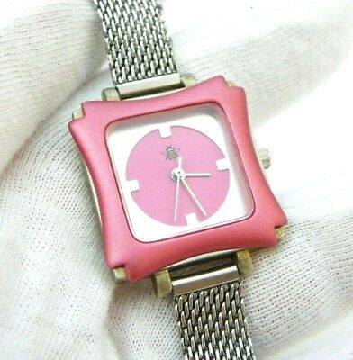 "OUI ART, ""Metalic Hot Pink"",Designer Square Dial,SS Mesh,LADIES WATCH,849,L@@K"